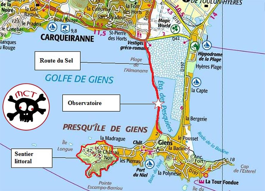 carte presqu île de giens Presqu'île de Giens | Christiane et Michel