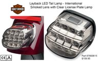 H-D Layback LED International Smoked Lens with Clear Licence Plate Lamp - 67800615